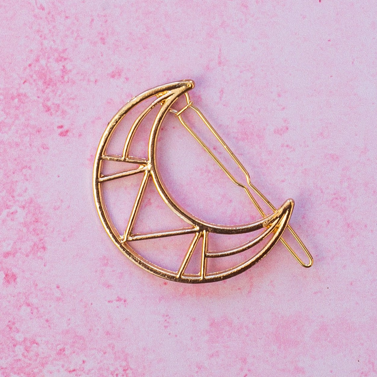 Geometric Crescent Moon Hair Grip (Gold Plated)