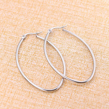 Load image into Gallery viewer, 316 Stainless Steel Hoop Earrings Silver Tone Oval 30mm