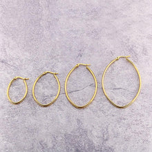 Load image into Gallery viewer, 316 Stainless Steel Hoop Earrings Gold Plated Oval 30mm