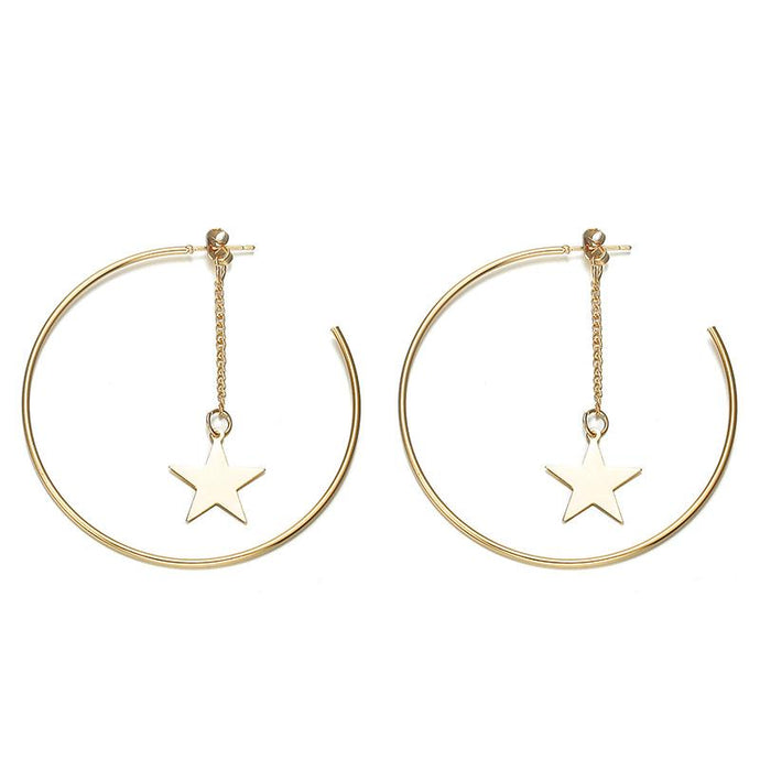 Star Drop Hoops (Gold Plated)