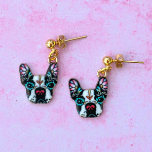 Black & White Frenchie Earrings