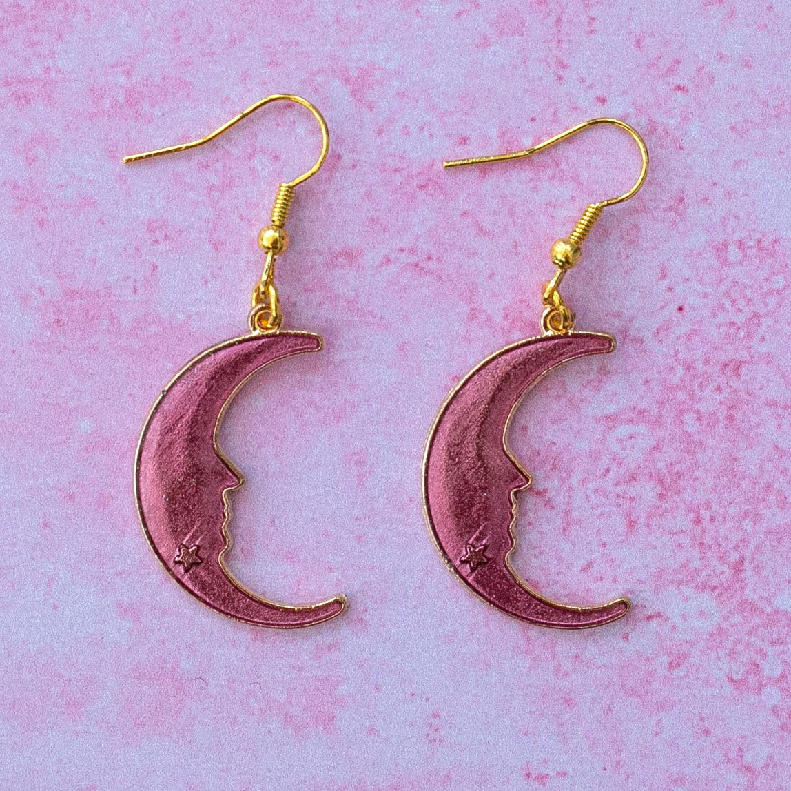 Purple Moon Earrings