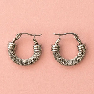 Mini Half Chain Detail Hoop Earrings