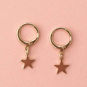 Star Hoop Earrings (Gold Plated)