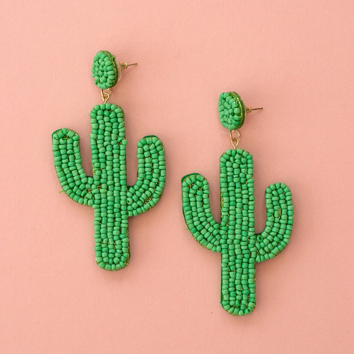 Green Beaded Cactus Earrings
