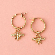 Load image into Gallery viewer, Gold Bee Hoop Earrings