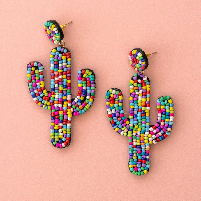 Multi Coloured Beaded Cactus Earrings
