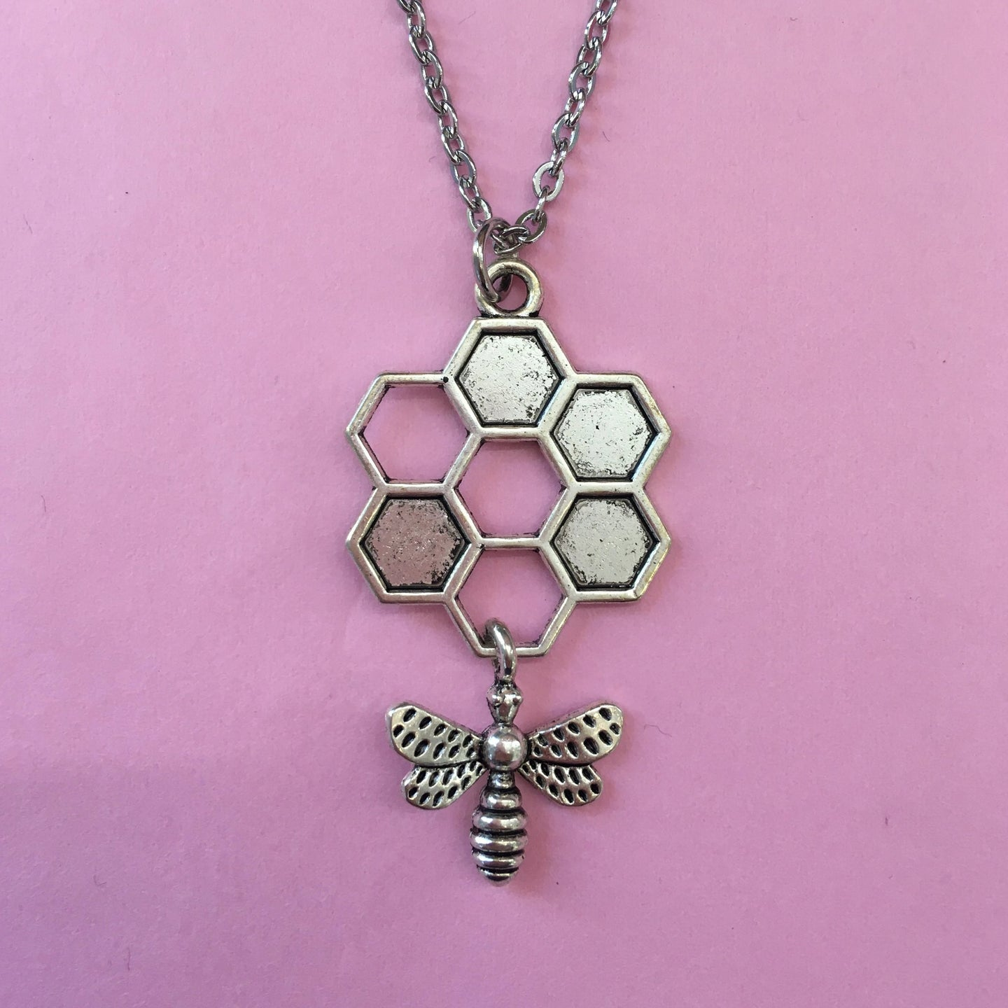 Circle Honeycomb and Bee Necklace (Stainless Steel)