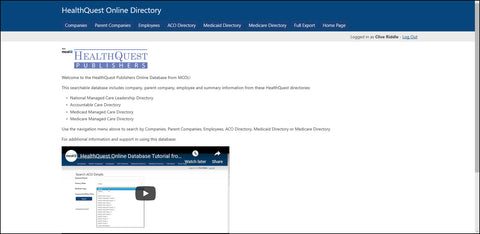 HealthQuest Online Directory Database Subscription