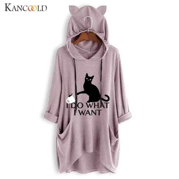 I Do What I Want Hoodie with Cat Ears