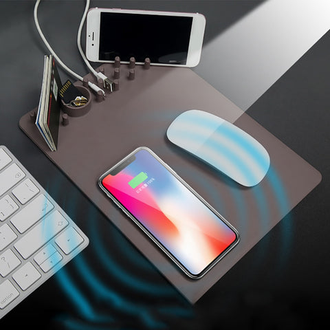 Multi-function Organizer Mouse Pad With Wireless Charging