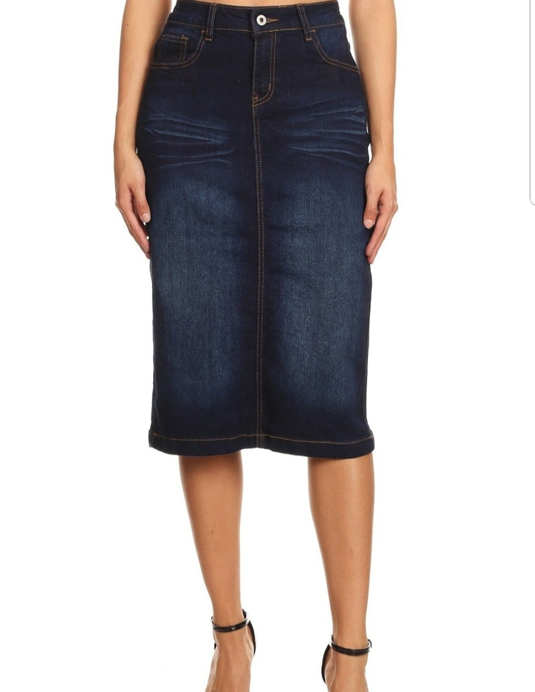 #77239 Calf Length Dark Indigo Wash Denim Skirt