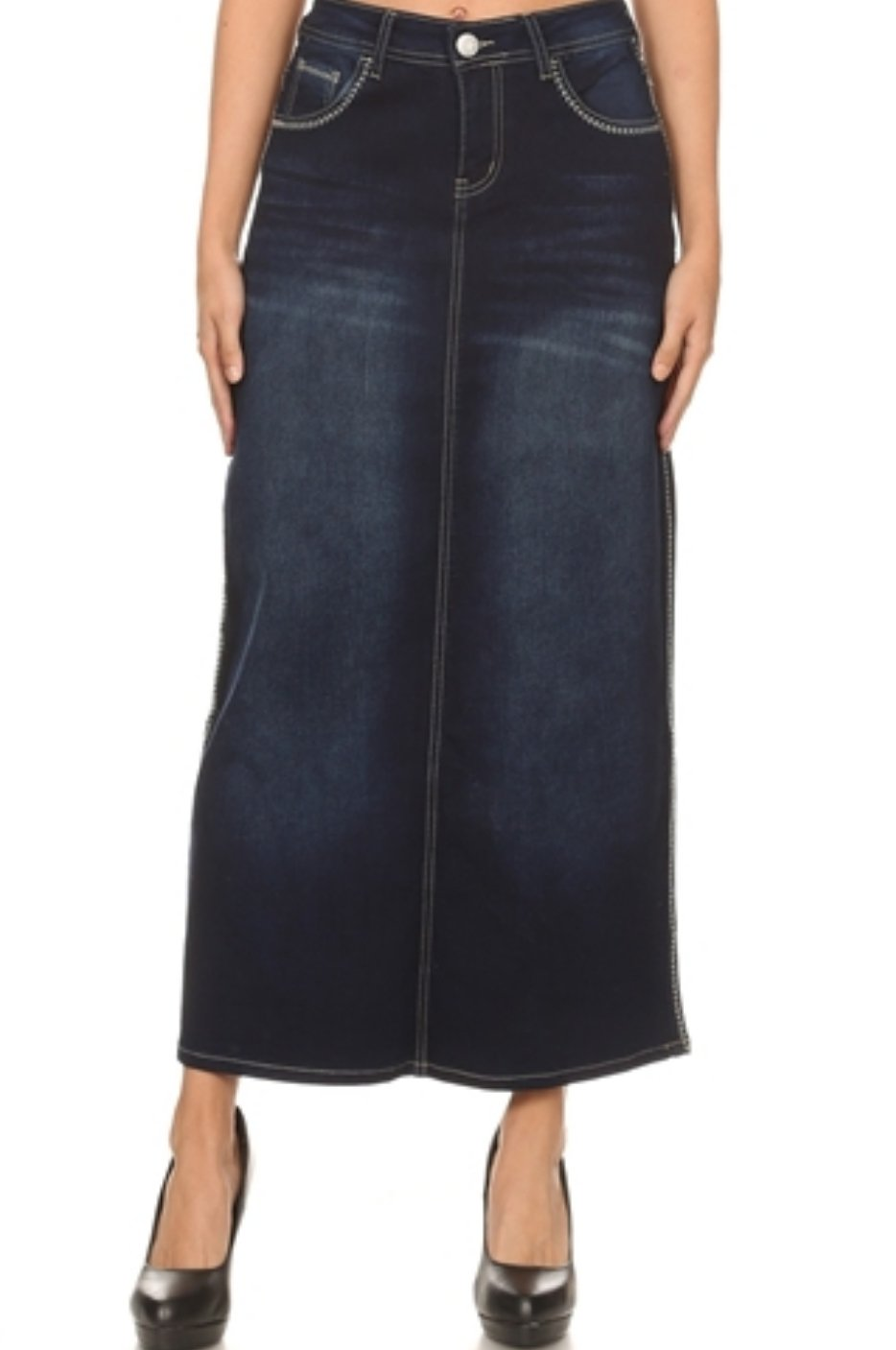 Dark Indigo Wash Long Denim Skirt with Embroidery  #87507