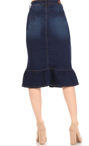 Button Down Ruffle Skirt in Dark Wash Denim 77531