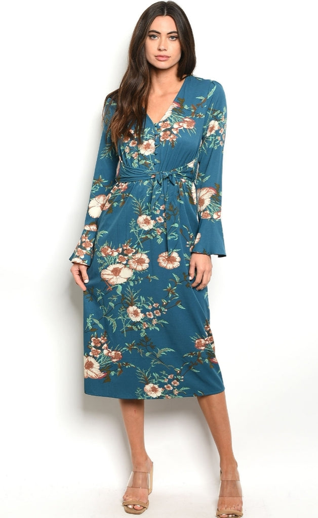 Teal Floral Button Front Dress