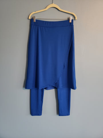 Royal Blue Wrap Style Athletic Skirt with Long Length Leggings