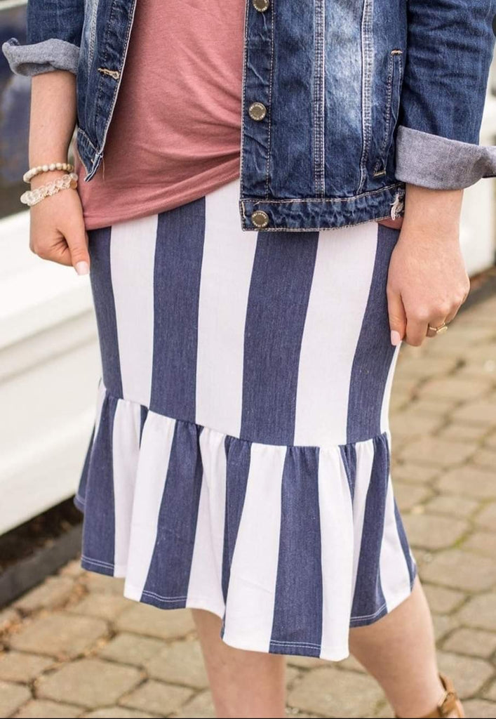 Knit Striped Midi Skirts with Ruffle