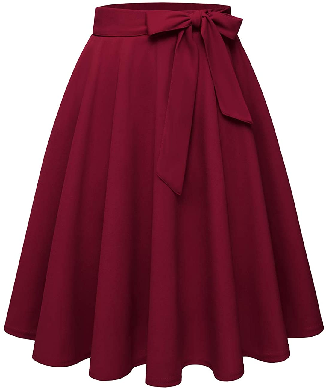 A-line High Waist Knee Length Skirt with Two Pockets