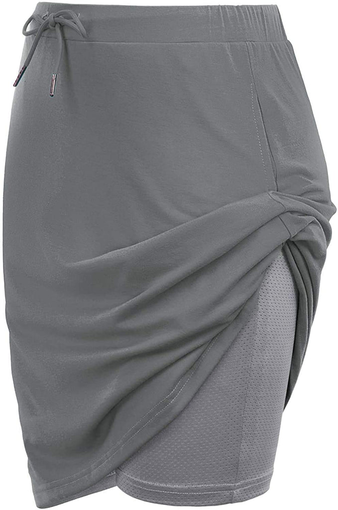 "Women's Athletic 20"" Length Skort Tennis Golf Skirt Drawstring Waist with Pockets Workout Two Layer-Shorts"