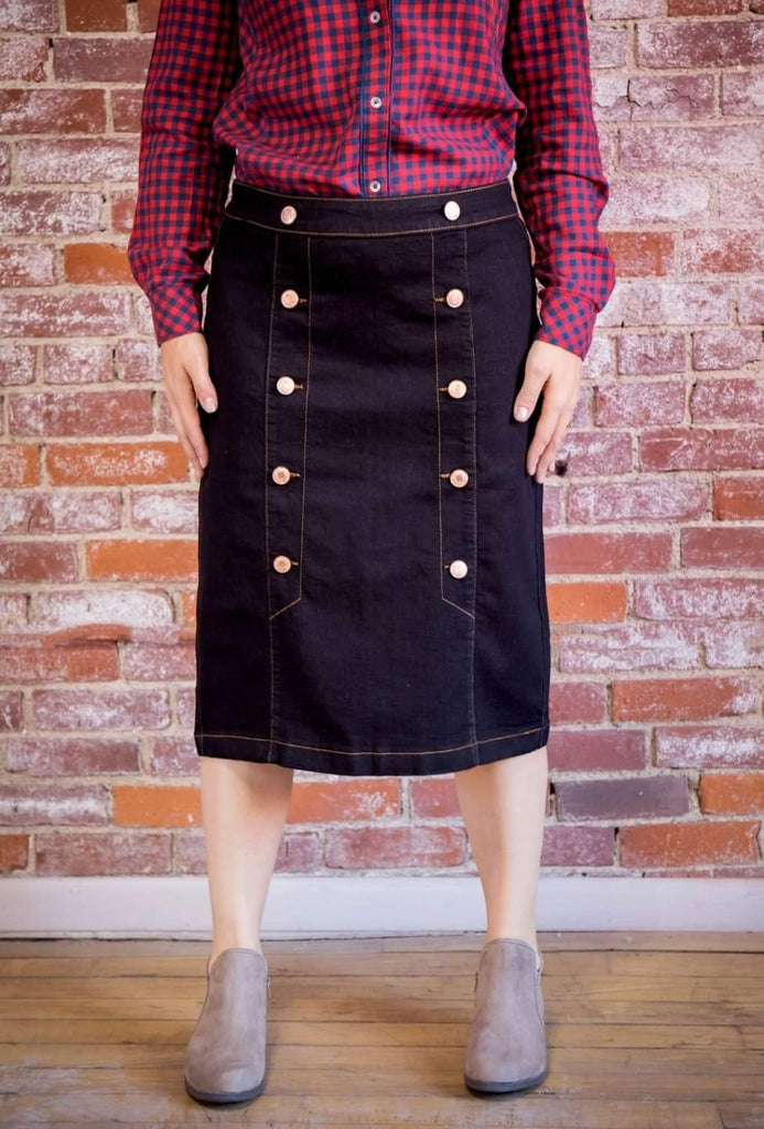 Button Down Black Denim Skirt with Back Zip Style # 77483