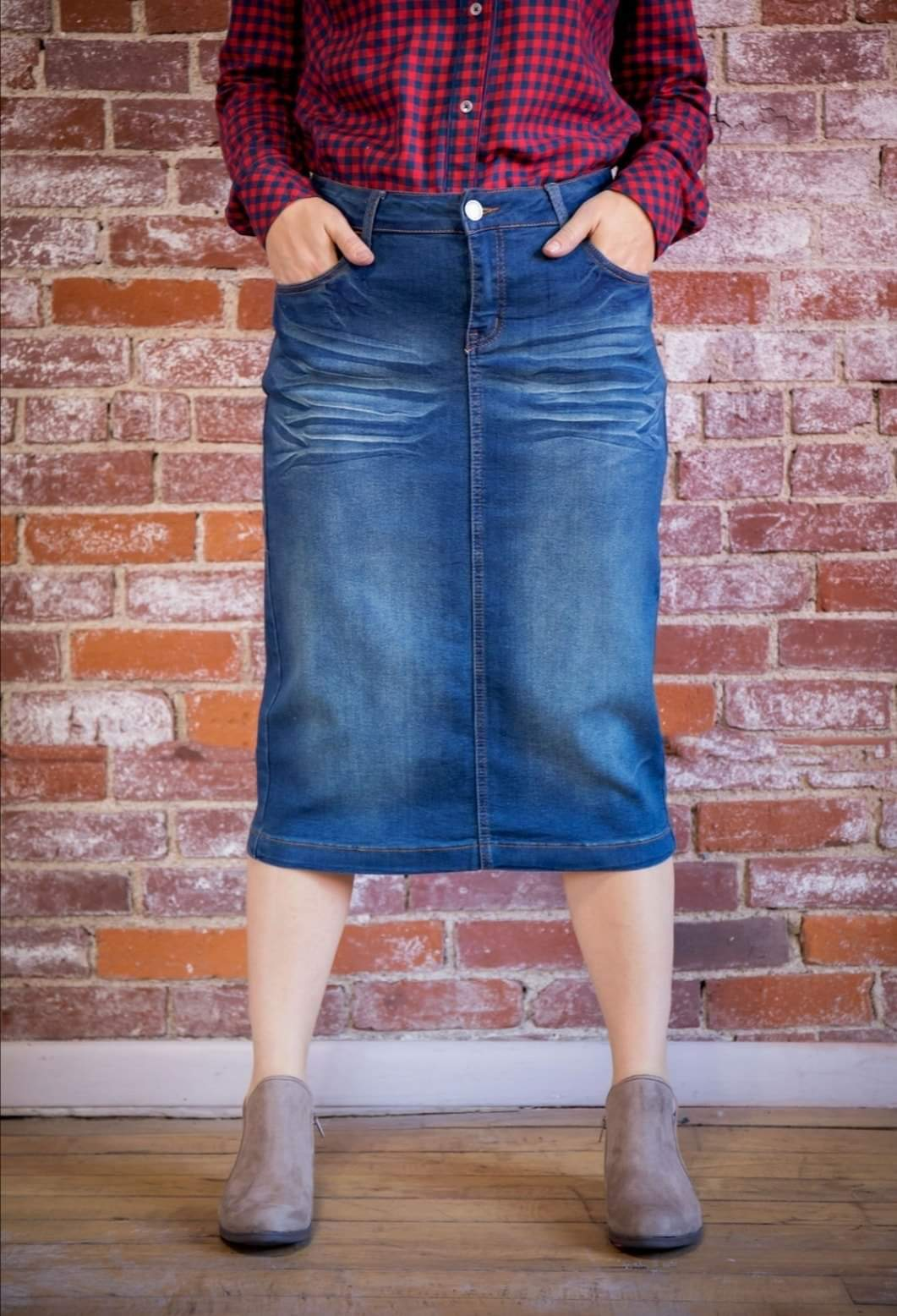 Calf Length Vintage Wash Denim Skirt Style #77239
