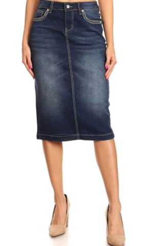 Denim Skirt Style #77559 with Embroidered Pockets