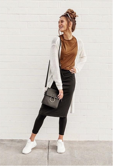 Black Athletic Pencil Style Skirt with Ankle Length Leggings in Standard Length