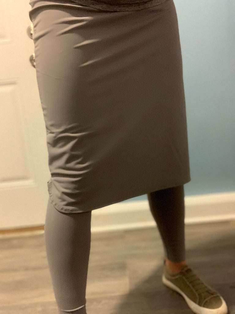 Gray Pencil Style Athletic Skirt with Ankle Length Leggings