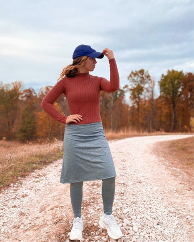 Space Dye Gray A-Line Style Athletic Skirt in 25