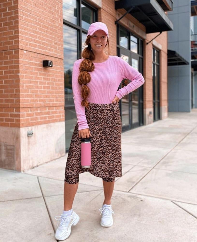 Leopard Wrap Style Athletic Skirt with Built-in Leggings