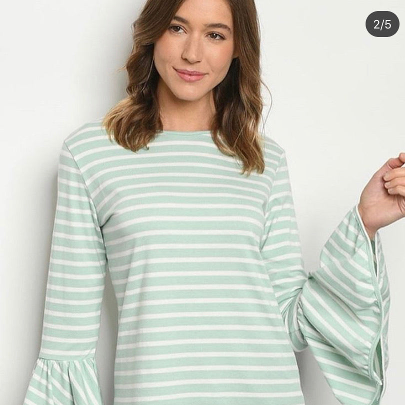 Mint Angel Sleeved Striped Ruffle Top