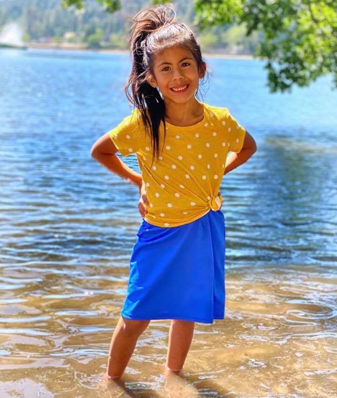 Royal Blue Girls Athletic & Swim Skirt with Built-in Shorts