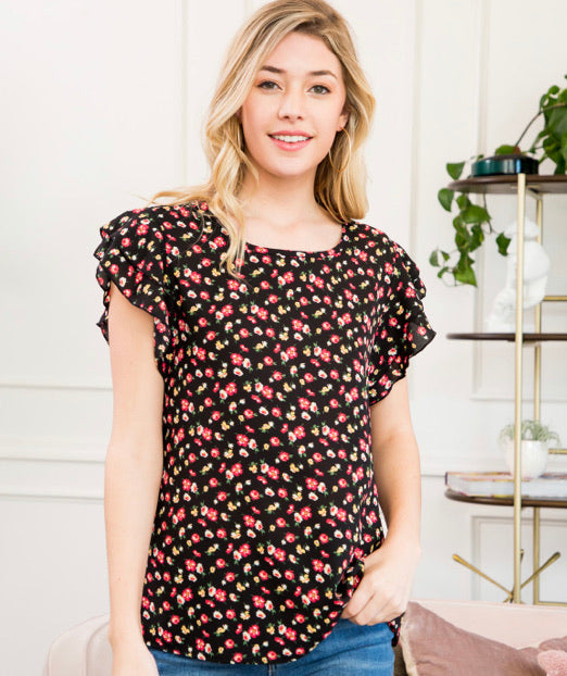 Black Floral Top with Ruffle Sleeves