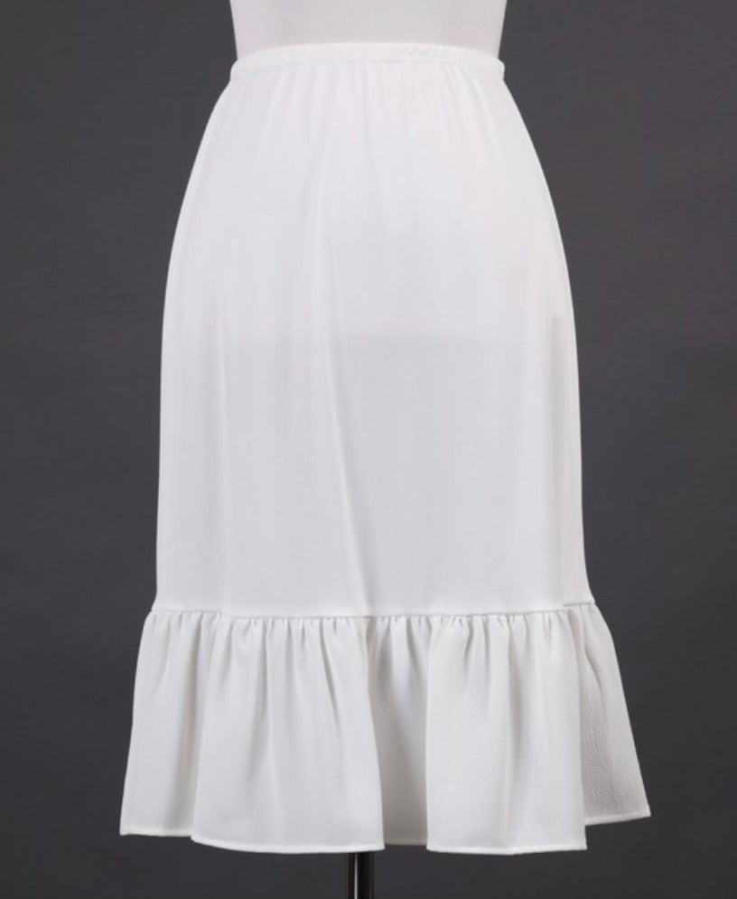 White Skirt Extender with Ruffle