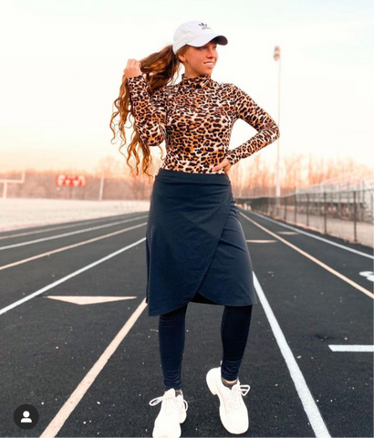 Black Wrap Style Athletic Skirt with Built-in Leggings