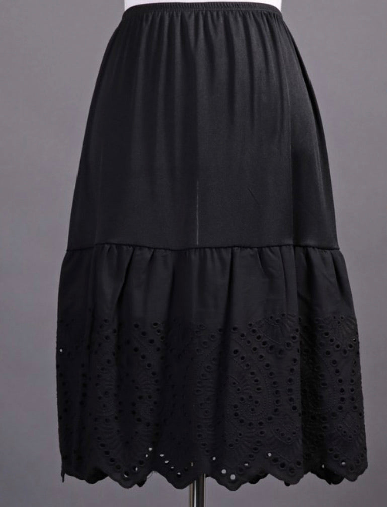 Black Skirt Extender with Lace Eyelet Ruffle