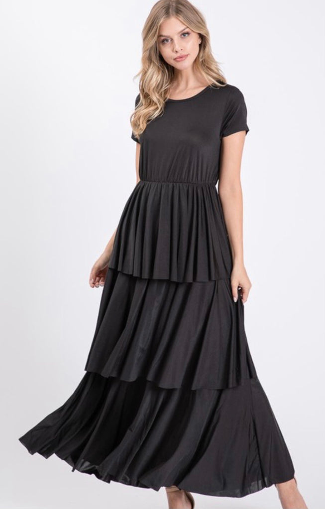 """Duchess"" Ruffled Dress in Black"