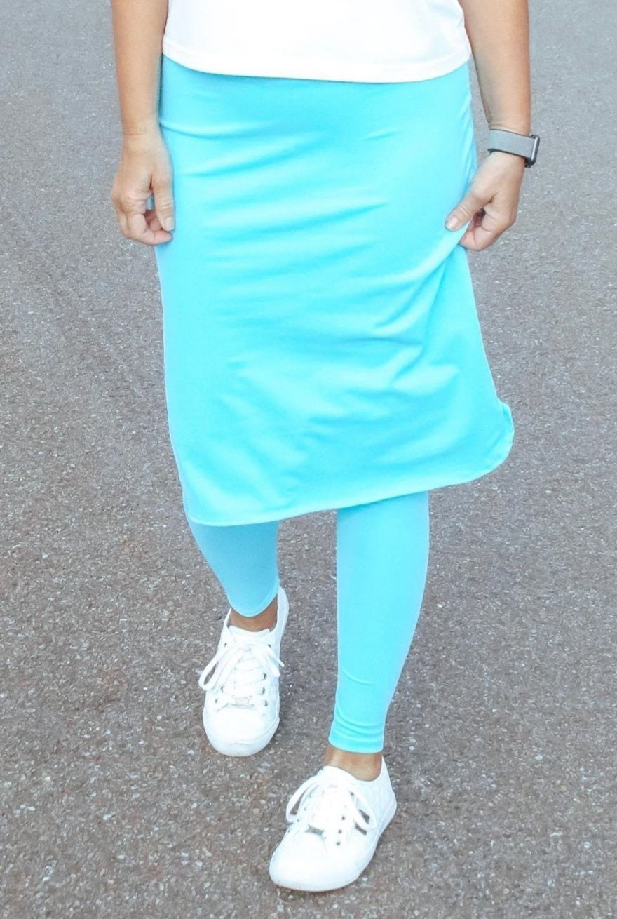 Turquoise Athletic Skirt with Ankle Length Leggings