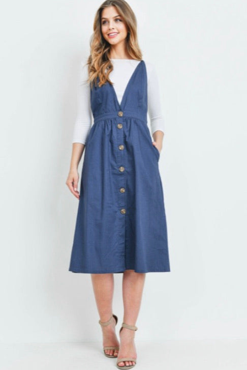 Navy Overall Jumper with Buttons