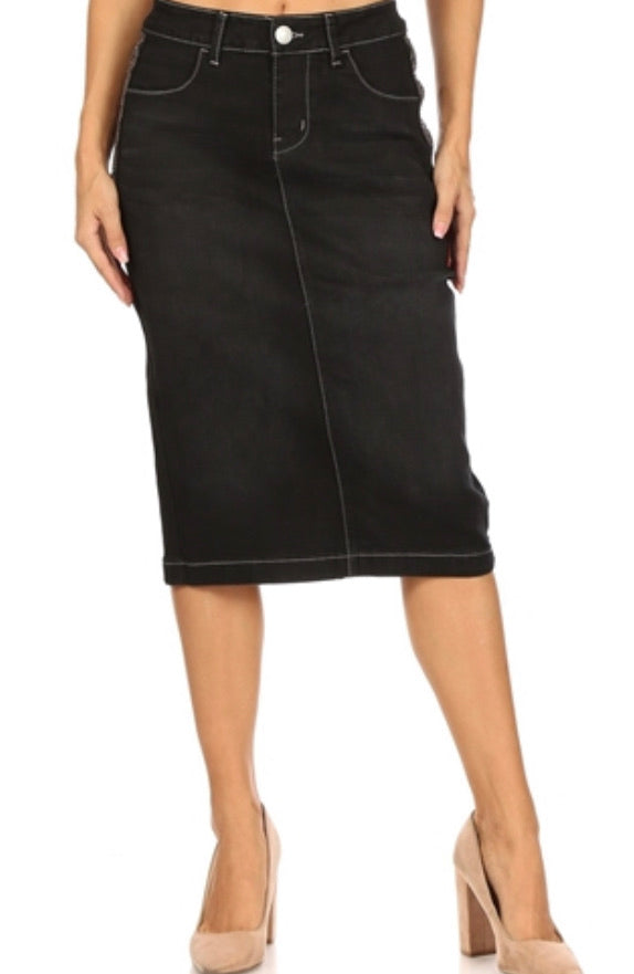"Black Denim Skirt with Sequins Style #77611 in 26"" Length"