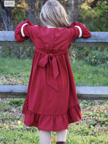 Red Lace Trimmed Girl's High Low Dress with Sash