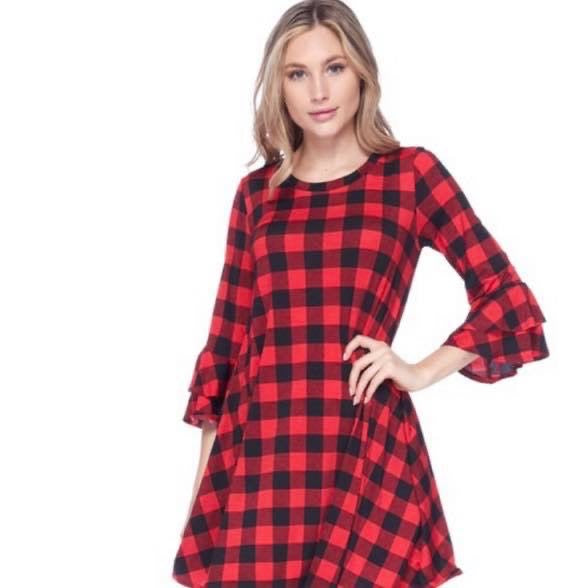 Buffalo Plaid Ruffle Sleeve Tunic