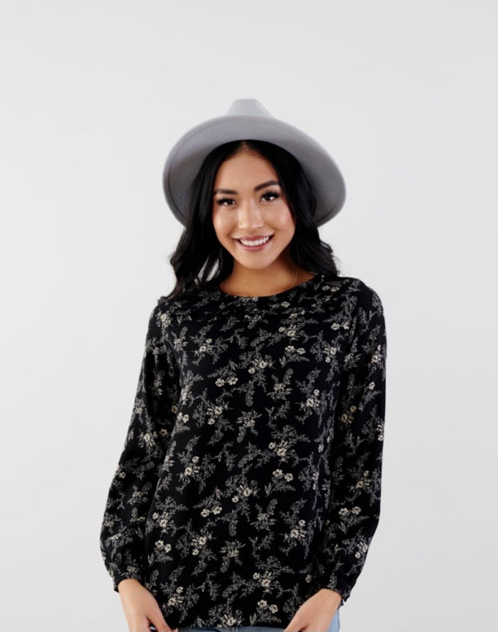 PRE-ORDER Ruffle Neck Floral Blouse