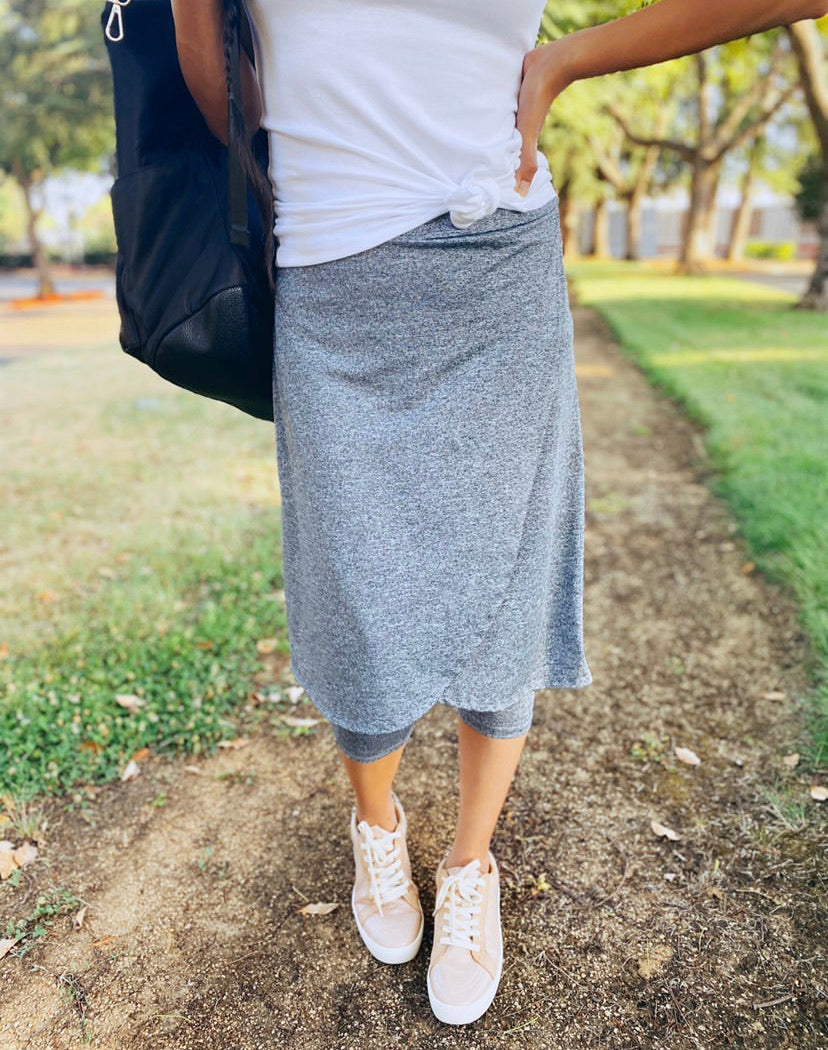 Wrap Style Athletic/Swim Skirt in Gray Space Dye with Capri Leggings
