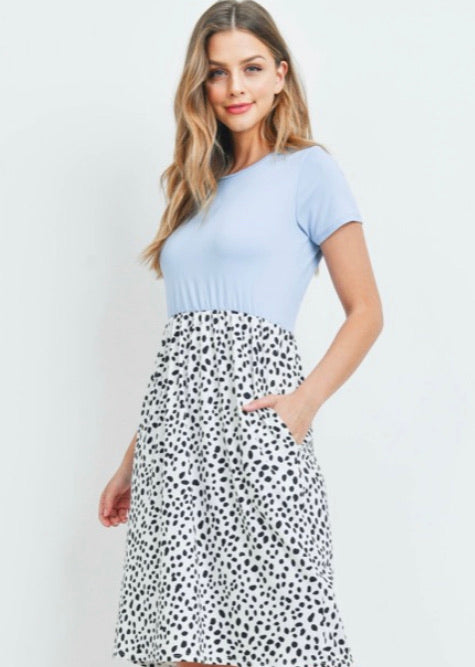 Baby Blue & Dot Dress