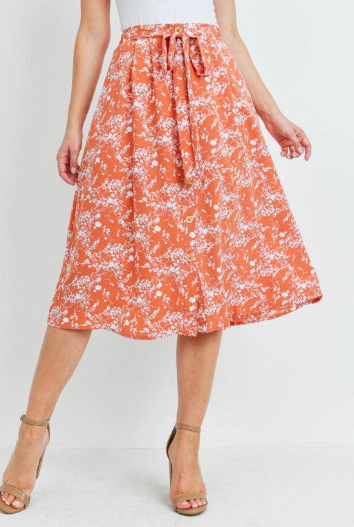 Floral Midi Skirt with Tie in Rust
