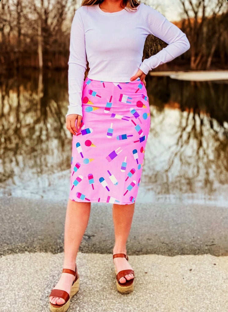 Popsicle Print Pencil Style Athletic Skirt with Built-in Shorts