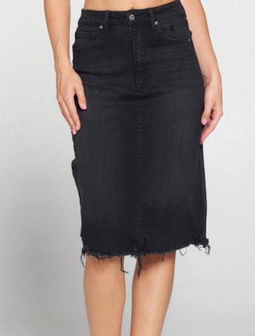 Black Denim Skirt with Distressed Hem