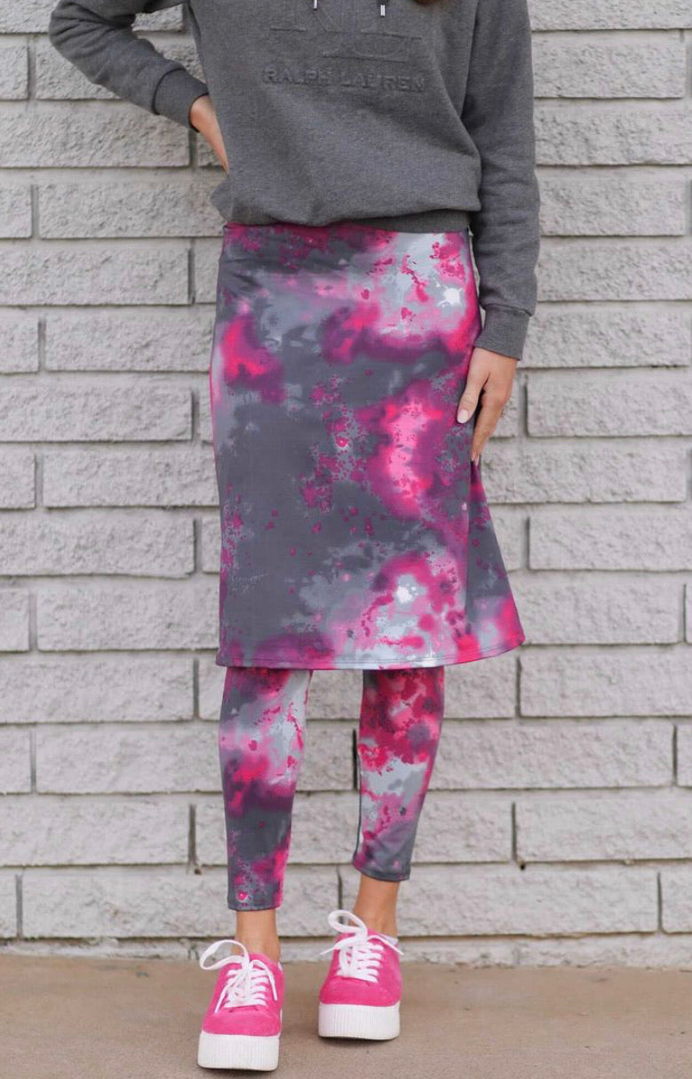 """Midnight Galaxy"" Premium Tie Dye A-Line Athletic Skirt with Built-in Leggings"