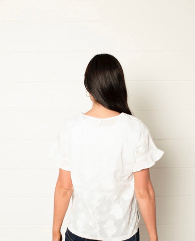 PRE-ORDER Ruffle Sleeve Blouse in White